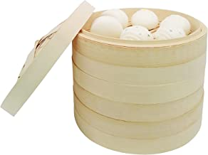 10 Inch Bamboo Steamer for Cooking Vegetables and Dumplings, 3 Tier Design, Healthy Food Prep, Great for Dim Sum, Chicken,...