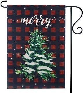 LINKWELL Farmhouse Buffalo Check Plaid Merry Christmas Tree Small Garden Flag Double Sided 12.5 x 18 Inch Yard Flag Outdoo...