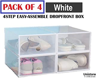 [2019 Edition] Unistore SB21 Stackable Dropfront easy assemble clear plastic Drawer/Shoe box. Easy DIY storage solution for clean organization.[4 Packs] 13