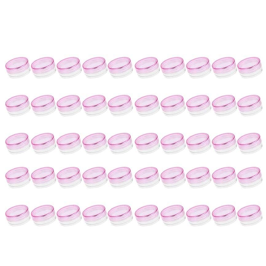 追い払う愛人聖域FLAMEER 50個入 クリームケース 空 化粧品瓶 詰替え サンプルボトル 小分け 旅行 蓋付 3g 全6色 - ピンク