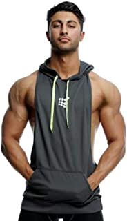 Mens Gym Stringer Tank Top Bodybuilding Athletic Workout Muscle Fitness Vest Gray