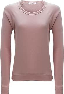 Womens Fleece Lined Raglan Sleeves Sweatshirt Pink M