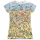 Where's Waldo Beach Scene Women's Front Only Sublimated T Shirt White