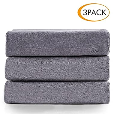 Jml Microfiber Bath Towels, Bath Towel 3 Pack(27  x 55 ), Oversized, Soft, Super Absortbent and Fast Drying, Antibacterial, Multipurpose Use for Sports, Travel, Fitness, Yoga - Grey