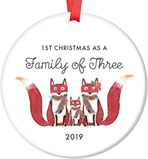 Family of Three Ornament 2019 First Christmas as a Family of 3, Fox Ornament Gift, Cute Foxes Mommy Daddy New Baby Shower Ceramic Present Keepsake 3