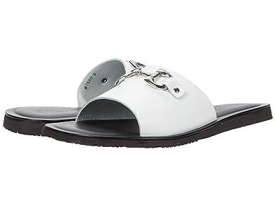 Massimo Matteo Leather Slide with Bit (White) Men