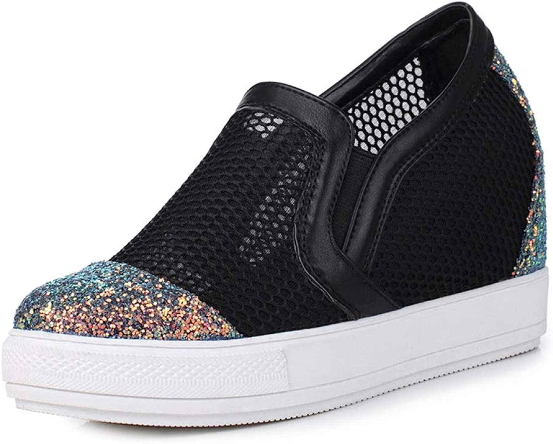 U-MAC Womens Flats Platform Wedge Sneakers Hidden Heel Air Mesh Light Weight Anti Slip Breathable Slip on shoes