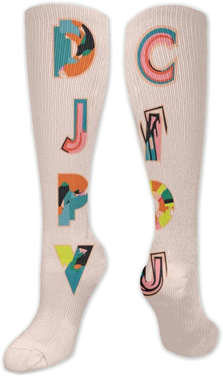 Color 26 English Letters Knee High Socks Leg Warmer Dresses Long Boot Stockings For Womens Cosplay Daily Wear