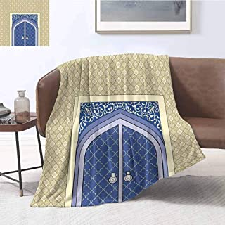 Luoiaax Moroccan Luxury Special Grade Blanket Medieval Door with Ottoman Architecture Persian Influences Arabic Culture Design Multi-Purpose use for Sofas etc. W60 x L70 Inch Blue Beige