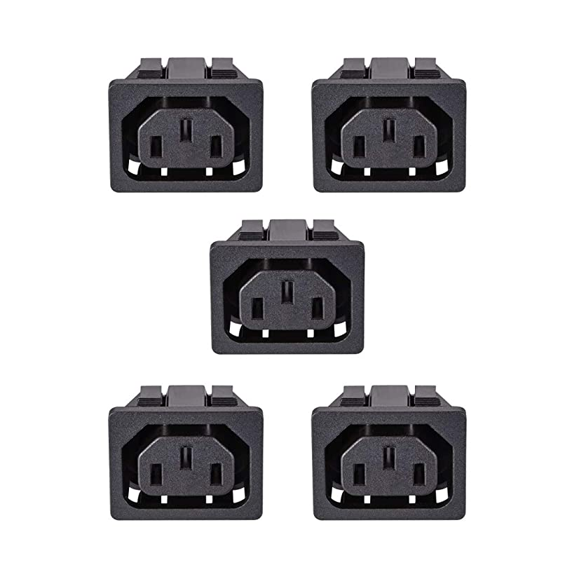 uxcell C13 Panel Mount Plug Adapter 250V AC 10A 3 Pins IEC Inlet Module Plug Power Socket Straight Pack of 5