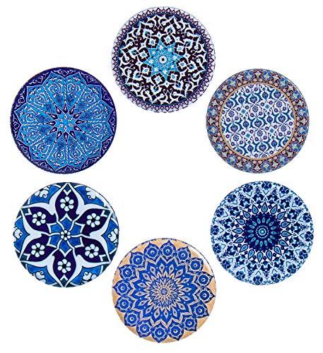BABEL ARTESANIA Set di 6 sottobicchieri Decorativi Originali per caffè, Cucina, Bevanda, Boccale, Vino,(cielo)