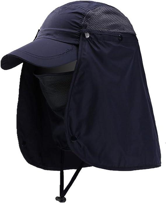 Lazzon Hombres Mujer Gorra para el Sol Anti-UV Pesca con Proteccion de Cuello ala Ancha Secado Secado r/ápido extra/íble Sombrero Equitaci/ón Camping Senderismo
