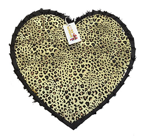 APINATA4U Black Color & Leopard Print Heart Pinata