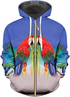 3f96b35b9abb66 3D Zip Up Hoodies Funny Print Parrot Bird Sweatshirt Men Women Tracksuits  Plus Size 6XL