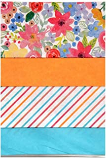 Blooming Gypsy Flowers and Stripes with Orange & Turquoise Blue Accent Colors Assortment - Pack of Premium Quality Decorative Gift Wrapping Tissue Paper - All Occasion, Birthday