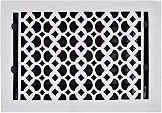 Floor Vent Cover 8x12 White, Cast Iron Floor Register with Metal Damper, Heavy Duty, Hand Crafted, Durable, Sand Casted, Powder Coated, Matte Flat – White