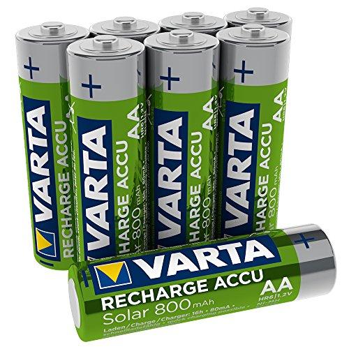 VARTA Recharge Akku Solar Mignon Ni-Mh Accu (AA, 800mAh, 8er Pack), wiederaufladbar ohne Memory-Effekt - sofort einsatzbereit