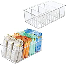 mDesign Plastic Food Storage Organizer Bin Box - 4 Divided Sections - Holder for Seasoning Packets, Pouches, Soups, Spices...