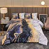 A Nice Night Marble Like Burning Mountain Printed Bedding Set,Retro Style Watercolor Artwork Design,Ultra Soft Comforter Set (Grey, Queen(88-by-88-inches))