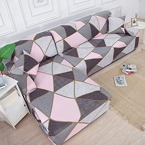 Funda en Forma de L para sofá de Esquina, Funda elástica para sofá para Sala de Estar, Funda elástica para sofá, 1/2/3/4 plazas, A3, 2 plazas