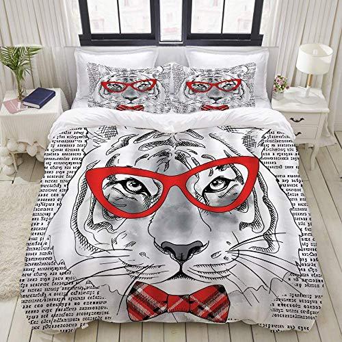 Funda nórdica, Tiger Cool Hipster Animal Tiger con Gafas con Nudo de Lazo en diseño Antiguo de Escritura Creativa, Juego de Cama Ultra cómodo, Ligero y Lujoso, Juegos de Microfibra