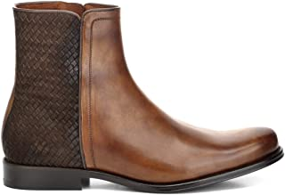 FRANCO CUADRA Men`s Boots in Genuine Leather with Handwoven Application Brown