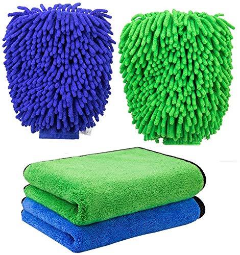FMS 2 Stücke Weicher Korallen Auto Chenille Waschhandschuh Handschuh und 2 Stück 840gsm Mikrofaser Reinigungstücher Set, Extrem Saugstark und Fusselfrei
