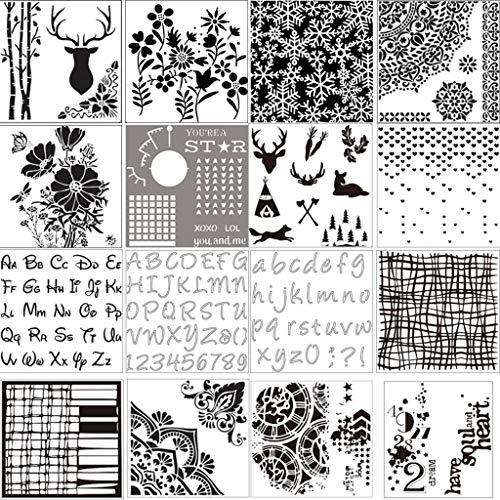 Hfbwjfhgdj 16 Stück/Set Hirschblumen Schablonen Malerei Scrapbooking Prägung Stempeln