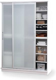 LOWYA ロウヤ 食器棚 キッチンボード 国産 ガラス 可動棚 スライド棚 ハイタイプ 幅122 ホワイト