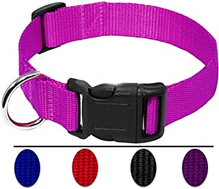 AEDILYS Adjustable Nylon Dog Collar Classic Solid Colors for Small Sized Dogs Neck, Multicolor