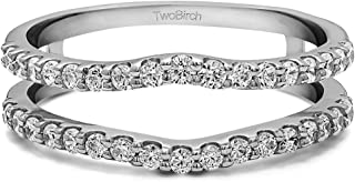 0.24 Ct. Double Shared Prong Curved Ring Guard in Sterling Silver with Diamonds (G,I2)