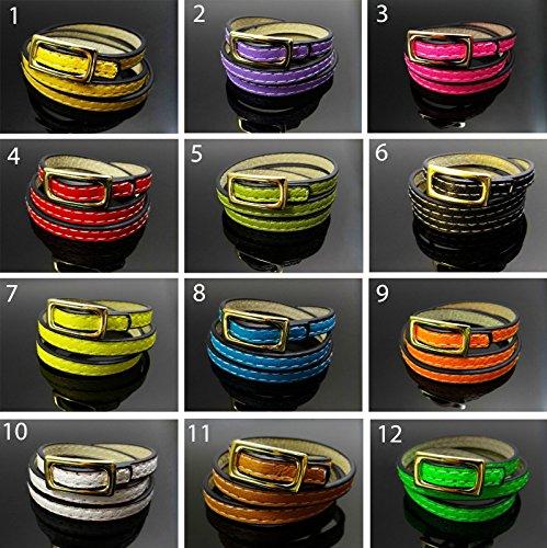 Pulsera enroscable pulsera Neon Colores 59cm de 3Compartimento de PU piel pulsera de piel, AA de 12 rojo