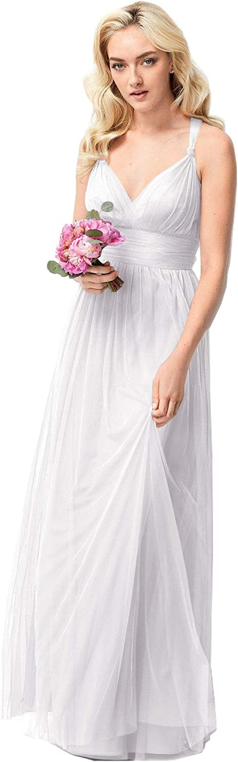 Beauty Bridal Women's Elegant VNeck Tulle Long Bridesmaid Dress Wedding Evening Dress Z60