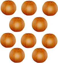 Reiki Crystal Products Lantern Paper Lamp Paper Ball Lamp Shade 12 Inch Paper Lamp for Decoration at Diwali Party Birthday Colors Orange Pack of 10 pc