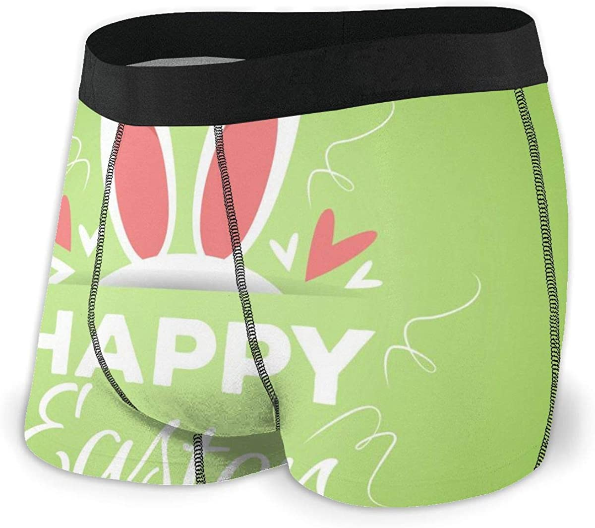 Randolph Wordsworth Mens Boxer Briefs Happy Easter Bunny's Ears Green Breathable Underwear