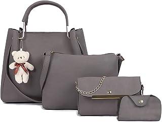 Fargo PU Leather Latest Handbags For Women's Ladies Combo Of 4 (Grey_Teddy4_FGO-230)