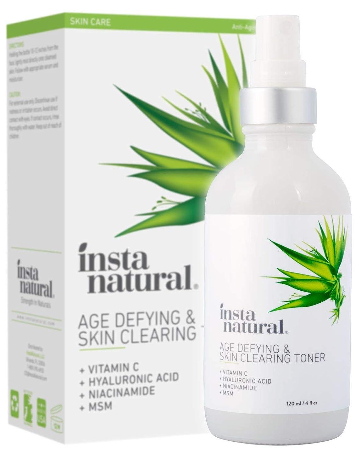 Vitamin C Skin Clearing Face Toner - Natural & Organic Anti Aging Formula with Salicylic Acid & Hyaluronic Acid - Helps Wrinkle, Dark Spot, Fine Lines - Safe for Sensitive Skin - InstaNatural - 4 oz