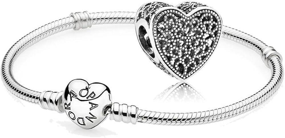 Pandora  bracciale e ciondolo da donna in argento stearling 925 590719-19 + 791811