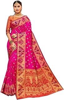 9222 Indian Pakistani Banarsi Silk Saree Blouse Party Wedding Sari Traditional Women