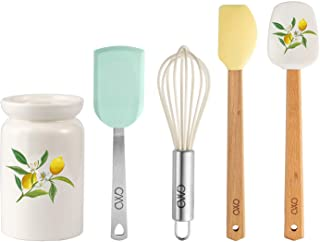 Cook With Color 5 Piece MINI Cooking Utensil Set with Holder, Silicone Kitchen Tools and Gadgets with Wooden Handles, Whis...