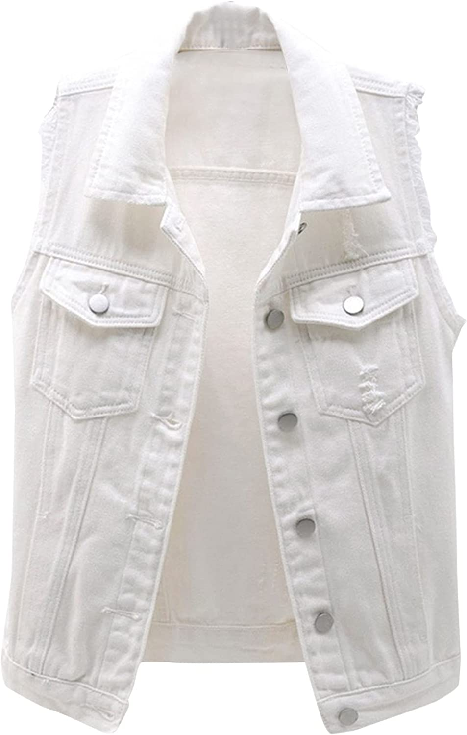 Women's Casual Denim Waistcoat Slim Fit Frayed Sleeveless Vest Button Down Ripped Tops with Pockets Denim Jacket Coat