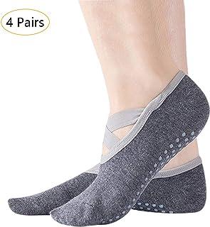 KINDOYO Yoga Socks for Women Girl - Ballet Pilates Dance Non Slip Socks Black White