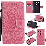 pinlu® PU Leder Tasche Etui Schutzhülle für LG Nexus 5X (5,2 Zoll) Lederhülle Schale Flip Cover Tasche mit Standfunktion Sonnenblume Muster Hülle (Rosa)