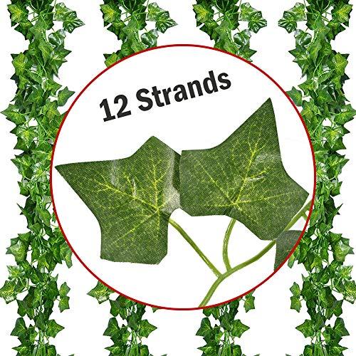 KT Deals 12 Strands Artificial Hanging Plant Ivy Vine Garland Fake Plant Green Leaf Leaves Home Garden Decor
