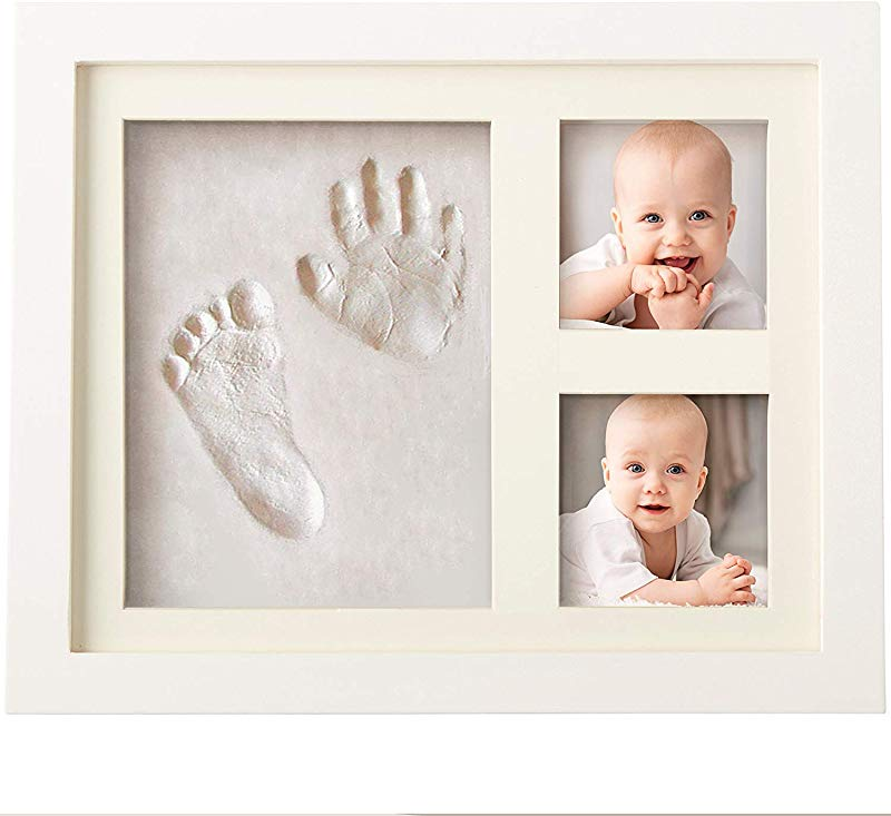 Bubzi Co BabyFootprint Kit Handprint Photo Frame For Newborn Girls And Boys Baby Photo Album For Shower Registry Personalized Baby Gifts Keepsake Box Decorations For Room Wall Nursery Decor