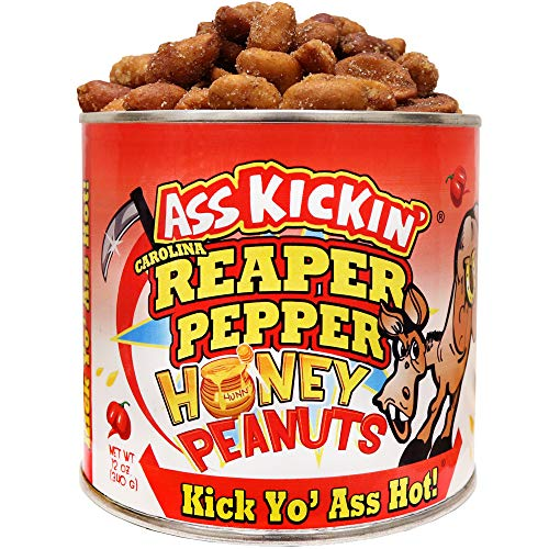 ASS KICKIN' Carolina Reaper Spicy Hot Peanuts – 12oz - Ultimate Spicy Gourmet Gift Peanuts - Try if you dare!