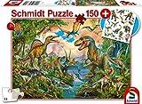 Schmidt Spiele Puzzle 56332 Wilde Dinos, Incluye Tatuajes de Dinosaurios, Puzzle para niños, 150 Piezas, Multicolor