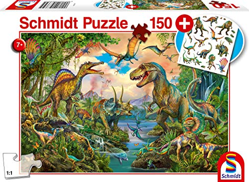 Schmidt Spiele Puzzle 56332 Wilde Dinos, inklusive Tattoos Dinosaurier,Kinderpuzzle,150 Teile, bunt