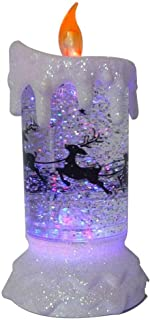 Lightahead LED glitter flameless candle with Moving Patterns Light Sprinkle colorful glitter base with LED RGB color change (Santa on Reindeer)