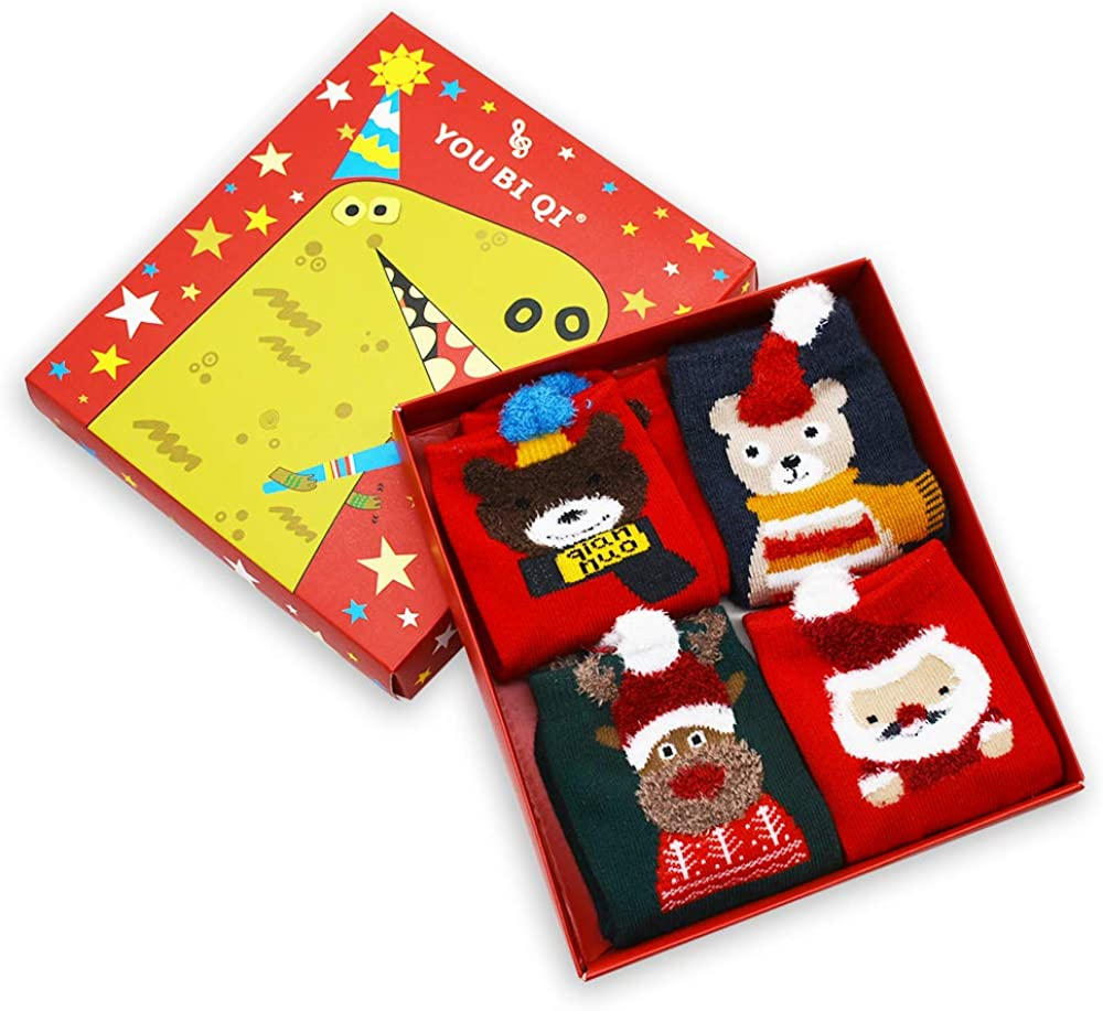 STONCEL Christmas Socks 4 Pairs Santa Claus Cotton Winter Socks Xma Unisex Socks for Kids